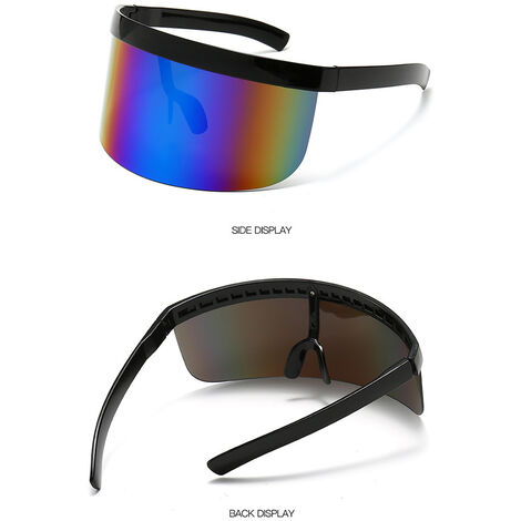 Half Face Mask Sun Protection Goggles Large Mirror Sun Glasses, White frame yellow