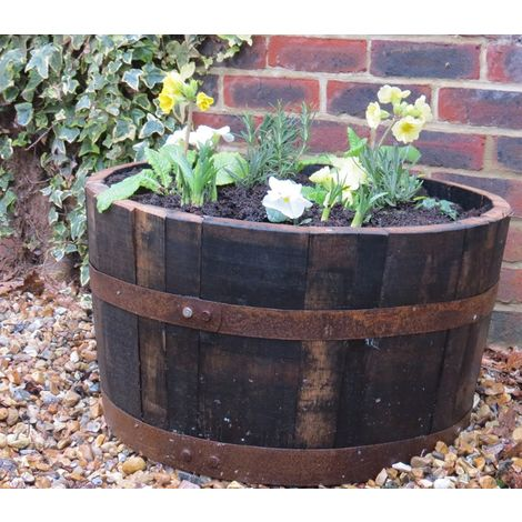 Half oak whisky barrel planter traditional rustic planter tub for plants or water feature