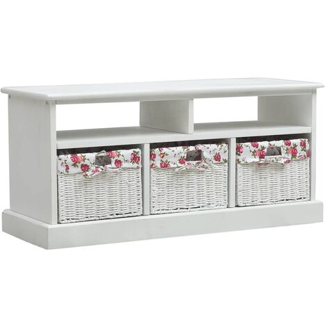 Hall Bench with 3 Baskets White Wood
