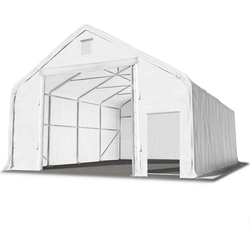 Intent24.fr - Hall hangar de stockage 8 x 20 m / hauteur de côté 3m tente industrielle avec bâche PVC ignifugé env. 720g/m² blanc