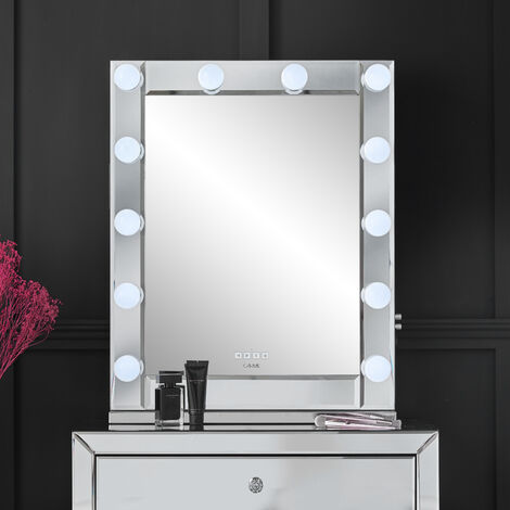 Halle Dekstop Rectangle Mirror with Dimmable Hollywood Bulbs 3 Colour Light Touch Sensor USB Charger Bluetooth Speaker Built In Plug Silver