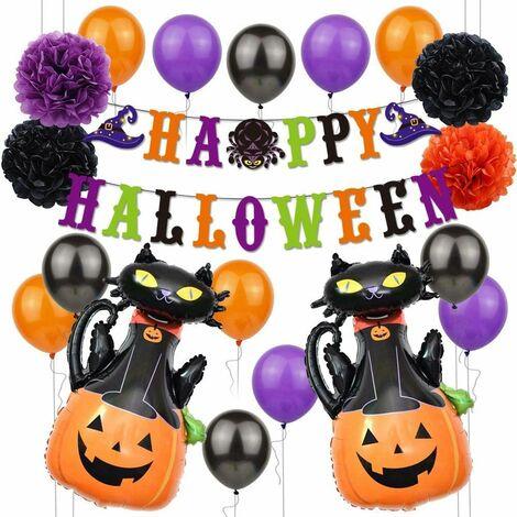 Halloween Decoration Set 19pcs Halloween Balloons - Banner, Pumpkin Ghost Foil Balloon, Latex Balloon Halloween Party Decorations for Party Supplies (Cat)