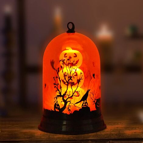 """main image of """"Halloween Decorations Pumpkin Lampshade, Orange Retro Night Light Battery Operated, Home Decor Ghost Festival Decorative Night Lamp, Party Decorations Powered by Batteries Without Battery"""""""