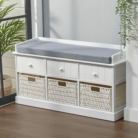 "main image of ""Hallway Bench Shoe Rack Storage Cabinet Baskets Drawers Organiser Cushion Seat, Grey"""