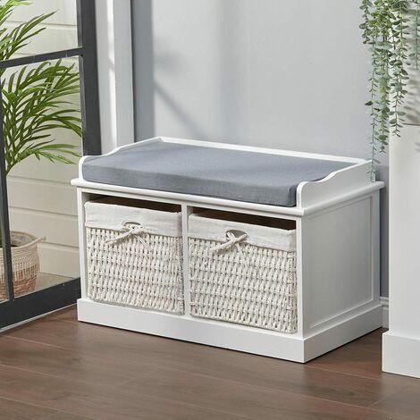 "main image of ""Hallway Bench Shoe Rack Storage Cabinet Baskets Organiser Cushion Seat, Grey"""