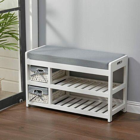 Hallway Bench Shoe Storage Cabinet with 2 Baskets