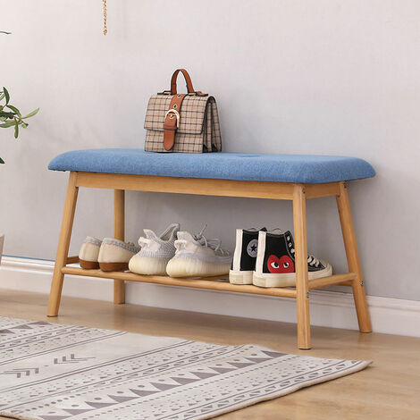 Hallway Seat Bench Shoe Rack Bed End Bench with Seat Cushion