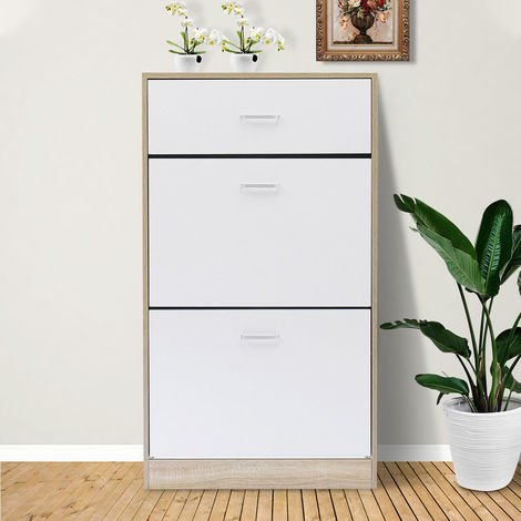 Hallway shoe cabinet on 3 levels - with 3 carrying handles / 2 reclining cabinets / 1 drawer - 12 to 16 pairs of shoes White