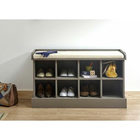 "main image of ""Hallway Storage Unit Shoe Bench Cabinet 8 Compartment Padded Seat Grey Kempton"""