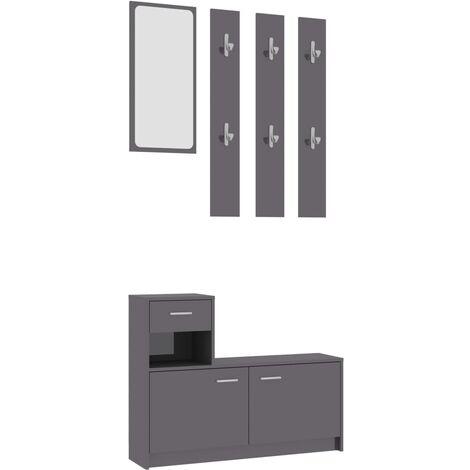 Hallway Unit High Gloss Grey 100x25x76.5 cm Chipboard