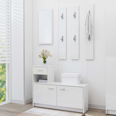 Hallway Unit High Gloss White 100x25x76.5 cm Chipboard