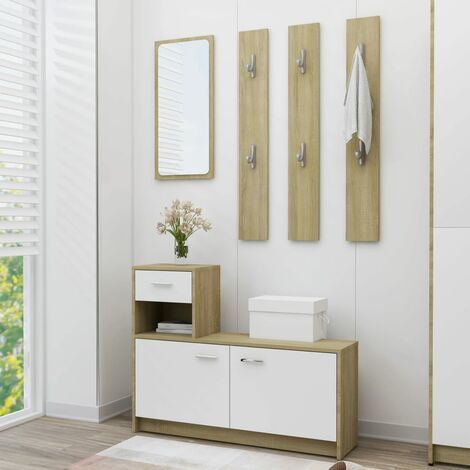 Hallway Unit White and Sonoma Oak 100x25x76.5 cm Chipboard