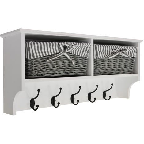 HALLWAY - Wall Storage Shelf with 2 Baskets and 5 Coat Hooks - White / Grey