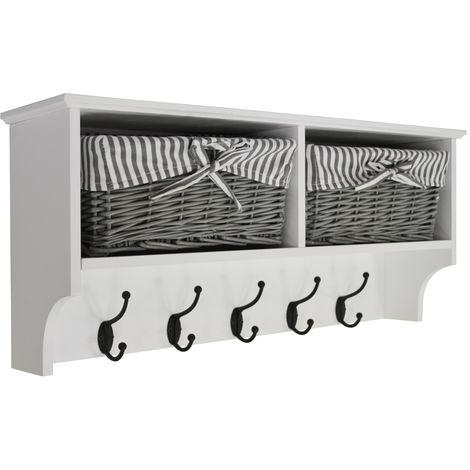 HALLWAY - Wall Storage Shelf with 2 Baskets and 6 Coat Hooks - White / Grey