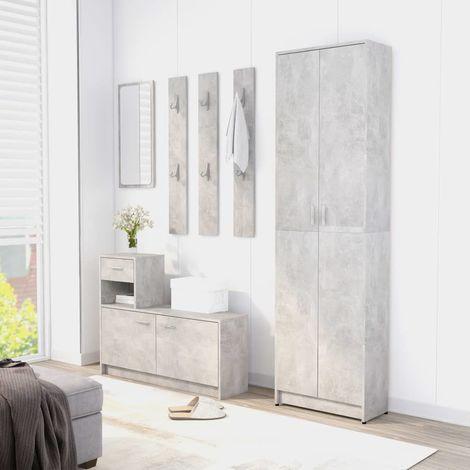 Hallway Wardrobe Concrete Grey 55x25x189 cm Chipboard