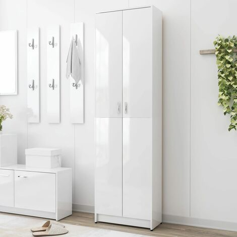 Hallway Wardrobe High Gloss White 55x25x189 cm Chipboard - White