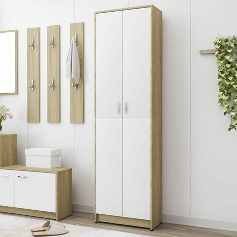 Hallway Wardrobe White and Sonoma Oak 55x25x189 cm Chipboard