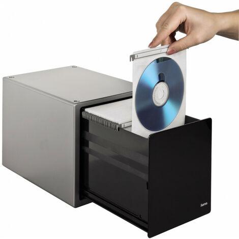 Hama Boîte de rangement Magic Touch pour 80 CD/DVD/Blu-ray, Argenté (48318)