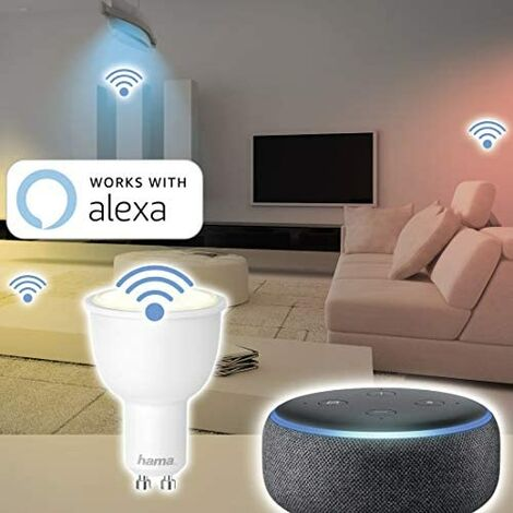 Hama GU10 - Bombilla LED (4,5 W (sin hub, regulable, controlada por Alexa/Google Home/App, 2,4 GHz, luz blanca cálida/neutra/diurna)