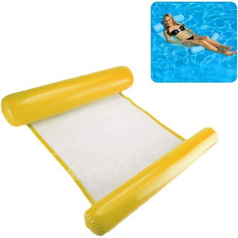 Hamac à eau pour piscine adulte matelas gonflable piscine pour adultes et enfants 200 kg 130 x 73 cm jaune