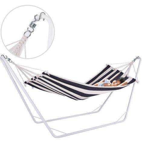 Hamac avec cadre en métal - 200 x 80cm - 100% coton - Crème/noir