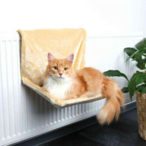 Hamac beige en peluche adaptable radiateur pour chats Trixie