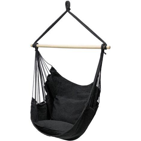 Hamac chaise anthracite balançoire suspendue siège jardin camping 2 oreillers