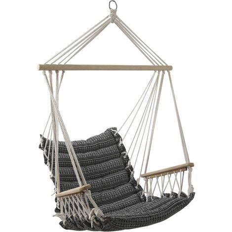 Hamac chaise design ethnique Jinja - L. 90 x H. 65 cm - Noir - Noir
