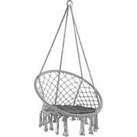 Hamac Chaise Suspendu 1 Personne Intérieur Extérieur en Coton Noir 80 cm x 60 cm x 135 cm