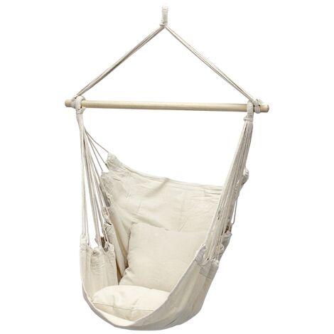Hamac chaise suspendue balançoire beige portable jardin siège camping 2 oreiller