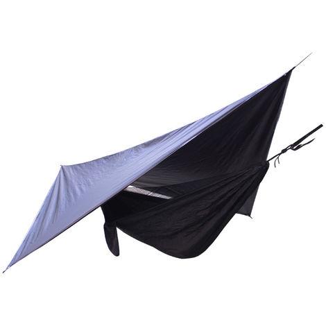 Hamac De Camping, Avec Auvent De Voile Pare-Soleil Etanche, Pour Jardin Exterieur, Noir