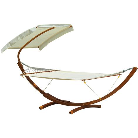 Hamac de jardin avec support en bois et parasol hamac sur pied 2 personnes max. charge max. 180 Kg