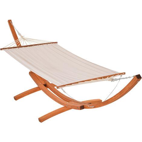 Hamac de jardin avec support en bois hamac sur pied 1 personne 3,92L x 1,2l x 1,1H m coloris crème marron