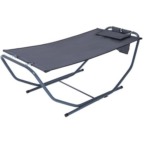 Hamac de jardin avec support sur pied 2,24 x 0,94 x 0,81 m grand confort têtière pochette rangement métal époxy textilène doublé gris