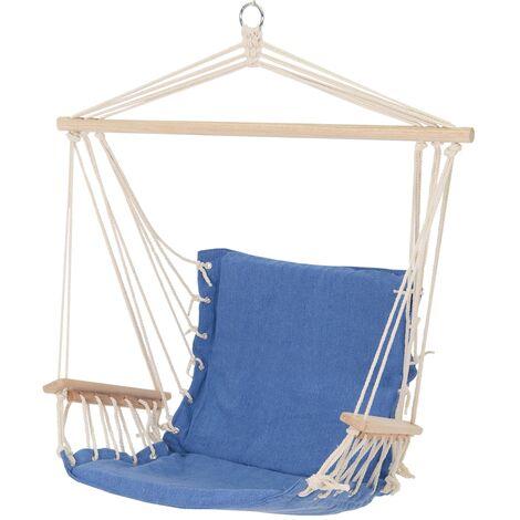 Hamac de jardin chaise balançoire suspendue avec 2 accoudoirs en coton/bois