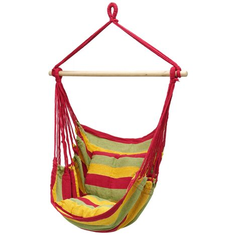 Hamac de jardin chaise balançoire suspendue rouge/vert/jaune avec 2 oreillers