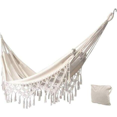"""main image of """"Hamac de jardin en coton doux avec sac à dos, idéal pour le jardin, le porche, les voyages, le camping"""""""