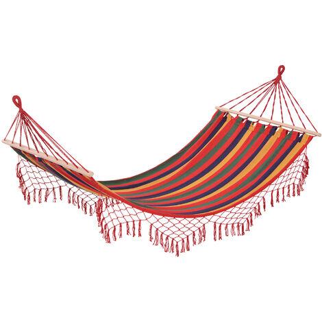 Hamac de voyage respirant portable toile de hamac dim. 2L x 1l m coton polyester multicolore