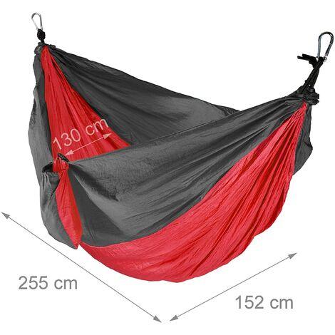 Hamac de voyage ultra léger charge 200 kg rouge - Rouge