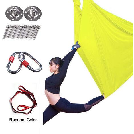 Hamac de yoga aérien de qualité supérieure de 5 m, ensemble de balançoire de yoga aérien, soies aériennes antigravité, équipement d'inversion de bride de yoga volant, jaune