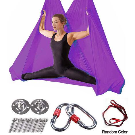 Hamac de yoga aérien de qualité supérieure de 5 m, ensemble de balançoire de yoga aérien, soies aériennes antigravité, équipement d'inversion de bride de yoga volant, violet