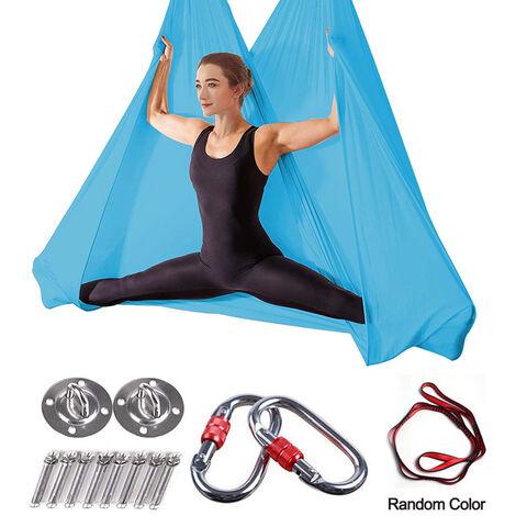 Hamac de yoga aérien Premium de 5 m, ensemble de balançoire de yoga aérien, soies aériennes antigravité, équipement d'inversion de sangle de yoga volant, bleu ciel