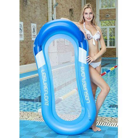 Hamac d'eau Gonflable Flottante Portable de Piscine, 160x90cm Chaise Longue Gonflable Multifonctionnel Pliable Comfortable pour Adulte Enfant, Fête de Plage (Bleu)