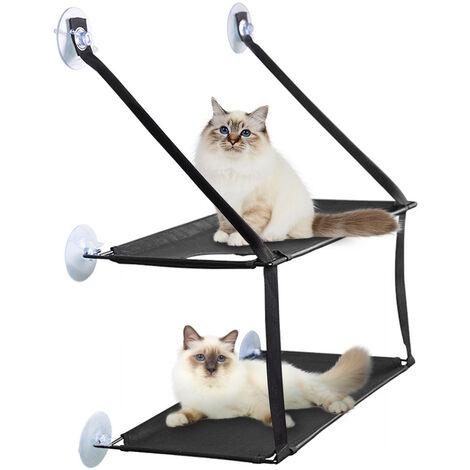 Hamac Double Arbre à chat Hamac de Fenêtre pour Chat Hamac De Fenetre Chat Lit de chat Noir