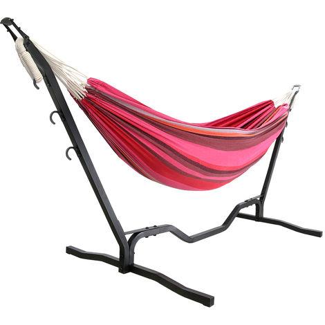 hamac double avec support pour 2 personnes 200 150 cm. Black Bedroom Furniture Sets. Home Design Ideas