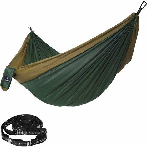 Hamac Double Ultra-léger, en Nylon Ripstop, Charge 300 kg, 300 x 200 cm, transportable, pour randonnées, Camping, extérieur, Jardin, Vert Sapin et Marron GDC20CA