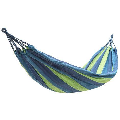 Hamac en tissu de coton Chaise de l'air Chaise pivotante suspendue pour le camping en plein air Bleu