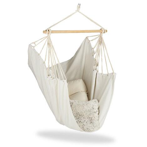 Hamac, fauteuil suspendu Siège suspendu en coton pour enfants et adultes, jusqu'à 150 kg, beige