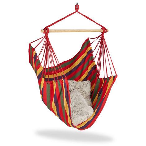 Hamac, fauteuil suspendu Siège suspendu en coton pour enfants et adultes, jusqu'à 150 kg, choix de couleurs