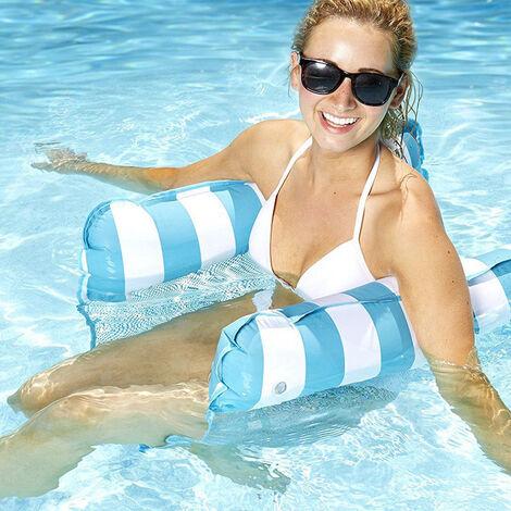Hamac flottant, hamac de piscine gonflable, chaise longue flottante, hamac flottant de plage flottante pliable multifonctionnel adulte (bleu clair)